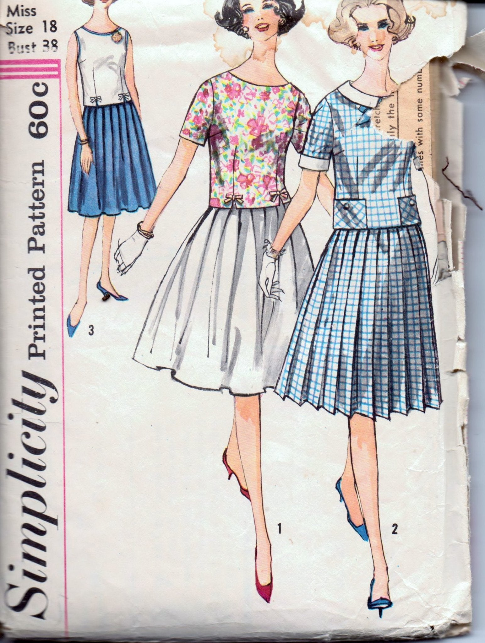 Simplicity 3801 Ladies Skirt Blouse Two Piece Suit Vintage 1960's Sewing Pattern - VintageStitching - Vintage Sewing Patterns