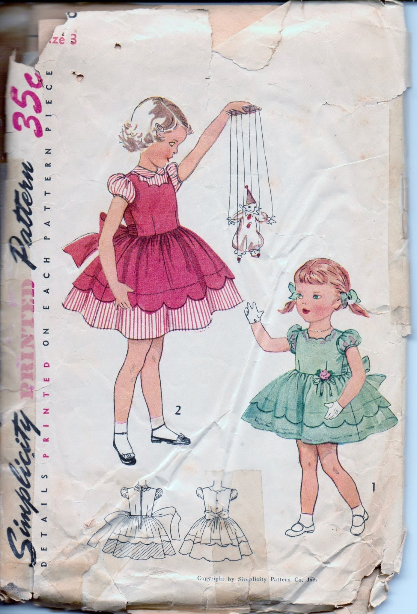 Simplicity 3808 Little Girls Toddler One-Piece Dress Vintage 1950's Sewing Pattern - VintageStitching - Vintage Sewing Patterns