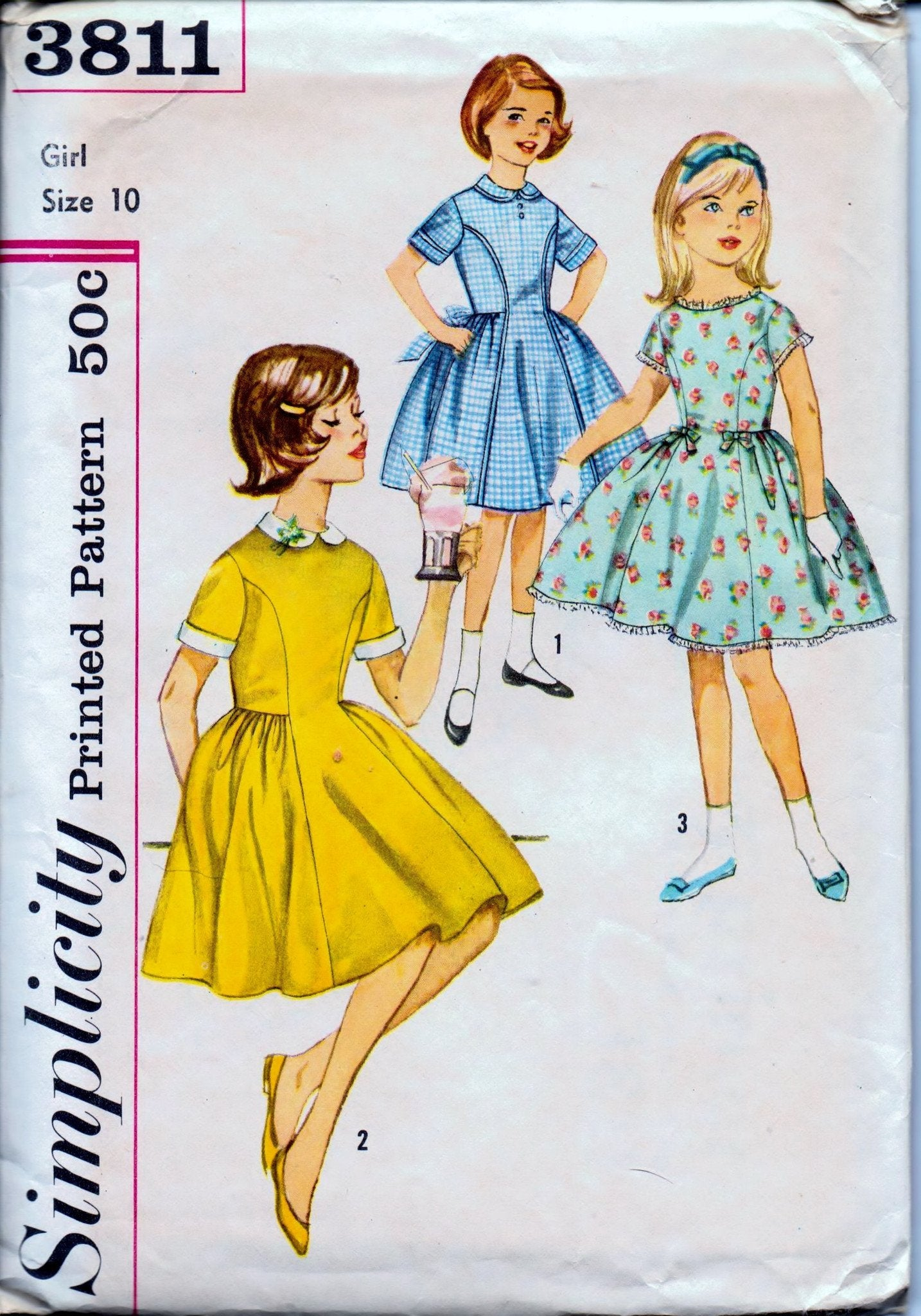 Simplicity 3811 Young Girls One-Piece Party Dress Detachable Collar Vintage 1960's Sewing Pattern - VintageStitching - Vintage Sewing Patterns