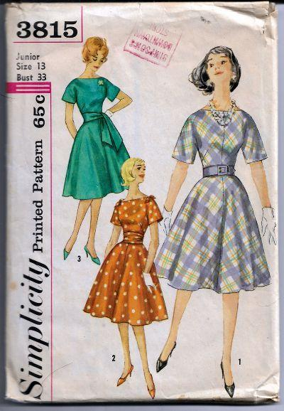 Simplicity 3815 Junior Ladies Dress Cummerbund Vintage Sewing Pattern 1960s - VintageStitching - Vintage Sewing Patterns