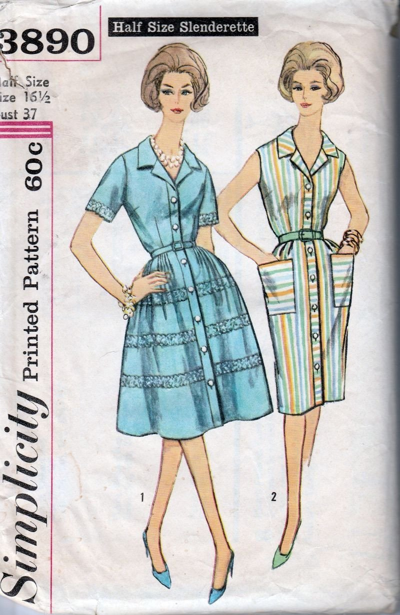 Simplicity 3890 Vintage 1960's Sewing Pattern Ladies Button Front Dress Slim Full Skirt - VintageStitching - Vintage Sewing Patterns