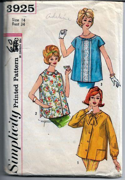 Simplicity 3925 Ladies Maternity Top Vintage Sewing Pattern 1950s - VintageStitching - Vintage Sewing Patterns