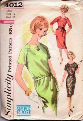 Simplicity 4012 Misses One Piece Dress Vintage 1960's Sewing Pattern Mad Men - VintageStitching - Vintage Sewing Patterns