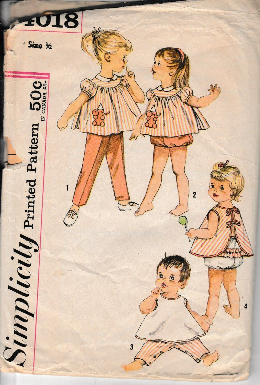 Simplicity 4018 Baby Toddler Top Pants Apron Panties Vintage 1960's Sewing Pattern - VintageStitching - Vintage Sewing Patterns