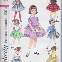 Simplicity 4058 Little Girls Party Dress Suspenders Jacket Vintage 1960's Sewing Pattern - VintageStitching - Vintage Sewing Patterns