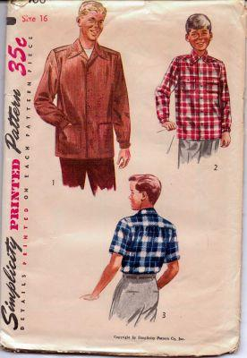 Simplicity 4100 Boys Button Front Shirt Vintage 1950's Sewing Pattern - VintageStitching - Vintage Sewing Patterns