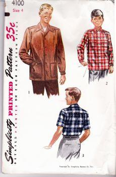 Simplicity 4100 Vintage Sewing Pattern Boys Shirt - VintageStitching - Vintage Sewing Patterns