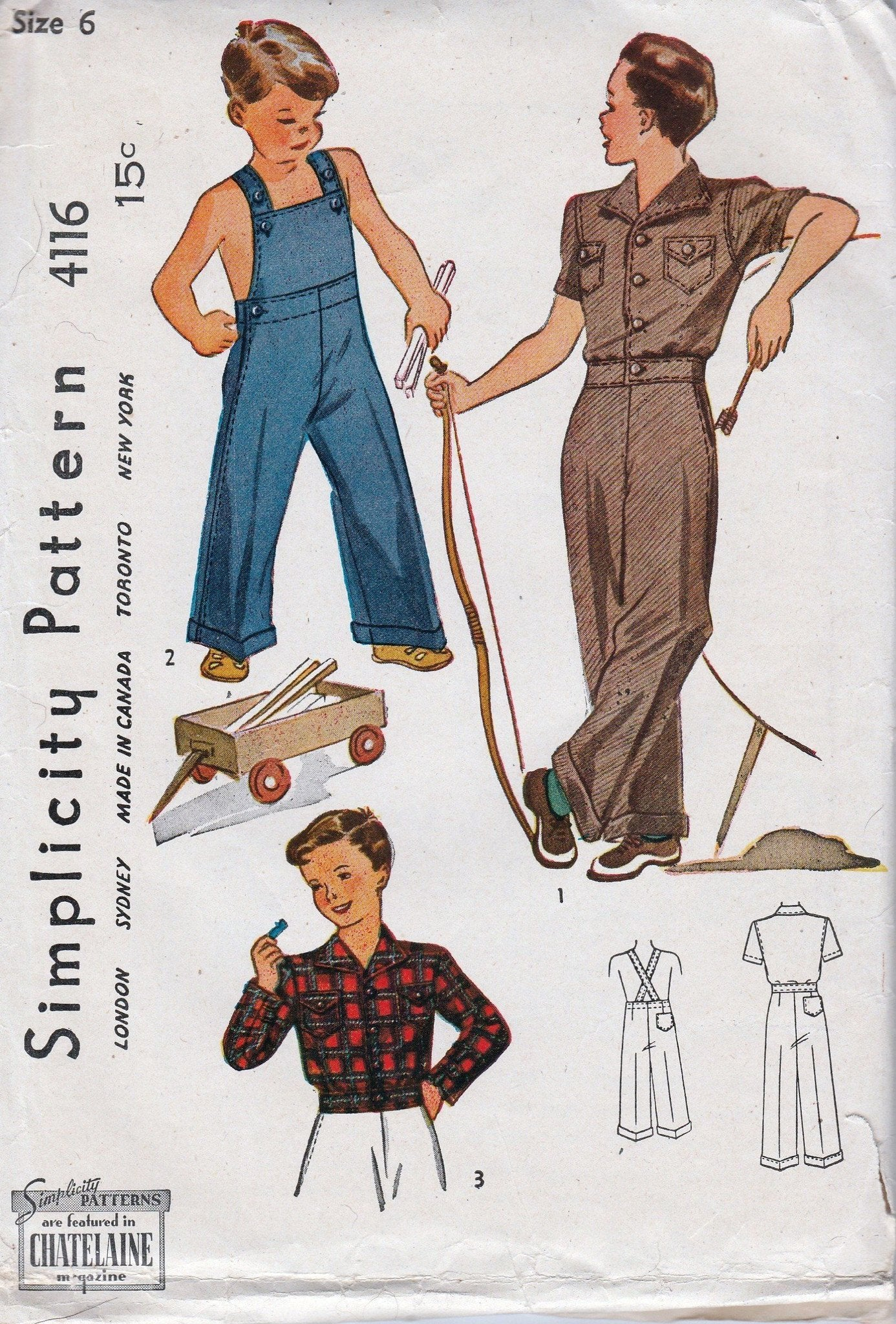 Simplicity 4116 Young Boys Overalls Lumber Jacket Vintage Pattern 1940's - VintageStitching - Vintage Sewing Patterns