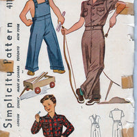 Simplicity 4116 Young Boys Toddler Overalls Lumber Jacket Vintage Pattern 1940's - VintageStitching - Vintage Sewing Patterns
