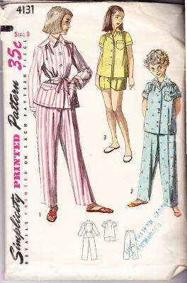 Simplicity 4131 Vintage 1950's Sewing Pattern Girls Pajamas - VintageStitching - Vintage Sewing Patterns
