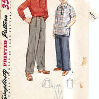 Simplicity 4132 Vintage 1950's Sewing Pattern Boys Shirt  Pants - VintageStitching - Vintage Sewing Patterns