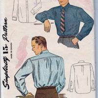 Simplicity 4138 Mens Shirt Vintage 1940's Sewing Pattern - VintageStitching - Vintage Sewing Patterns
