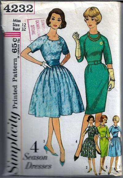 Simplicity 4232 Ladies Dress Raglan Sleeves Vintage Sewing Pattern 1960's Sz 12 - VintageStitching - Vintage Sewing Patterns