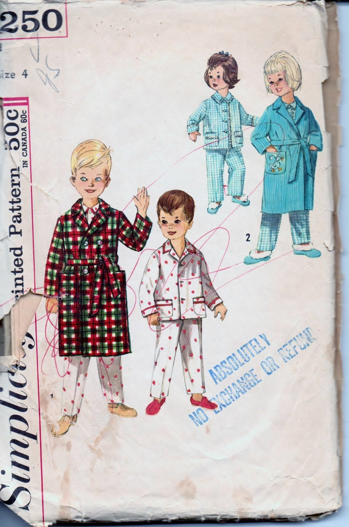 Simplicity 4250 Children's Robe Pajamas PJ's Boy Girl Vintage 1960's Sewing Pattern - VintageStitching - Vintage Sewing Patterns