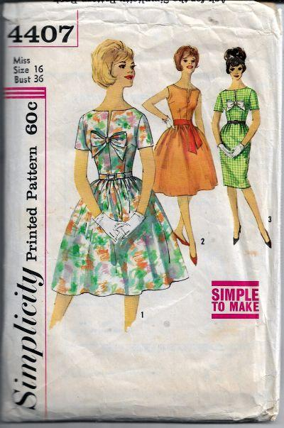 Simplicity 4407 Vintage Sewing Pattern 1960s Ladies Full Skirt Dress - VintageStitching - Vintage Sewing Patterns