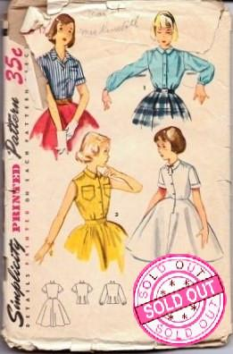Simplicity 4419 Girls Blouse and Blouse Slip Vintage 1950's Pattern - VintageStitching - Vintage Sewing Patterns