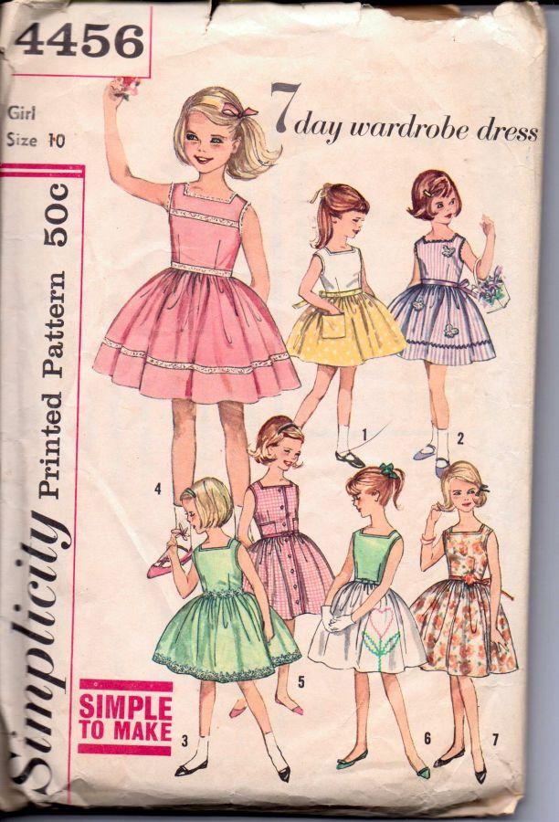 Simplicity 4456 Girls Sleeveless Dress 7 Day Wardrobe Vintage 1950's Sewing Pattern - VintageStitching - Vintage Sewing Patterns
