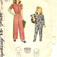 Simplicity 4545  Vintage Sewing Pattern 1940's One Piece Pajamas Set - VintageStitching - Vintage Sewing Patterns
