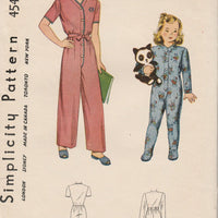 Simplicity 4545 Girls Toddlers One Piece Pajamas Vintage 1940's Sewing Pattern - VintageStitching - Vintage Sewing Patterns