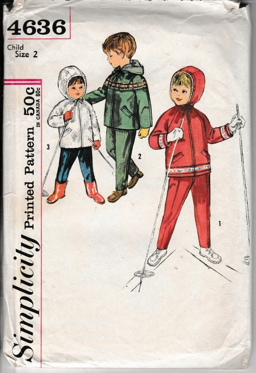 Simplicity 4636 Girls Boys Toddler Hooded Jacket Pants Vintage 1960's Sewing Pattern - VintageStitching - Vintage Sewing Patterns