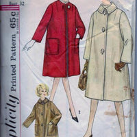 Simplicity 4637 Ladies Long Short Coat Vintage 1960's Sewing Pattern - VintageStitching - Vintage Sewing Patterns