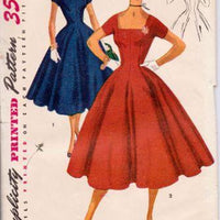 Simplicity 4639 1950's Rockabilly Cocktail Party Dress Square Neckline Vintage Sewing Pattern - VintageStitching - Vintage Sewing Patterns