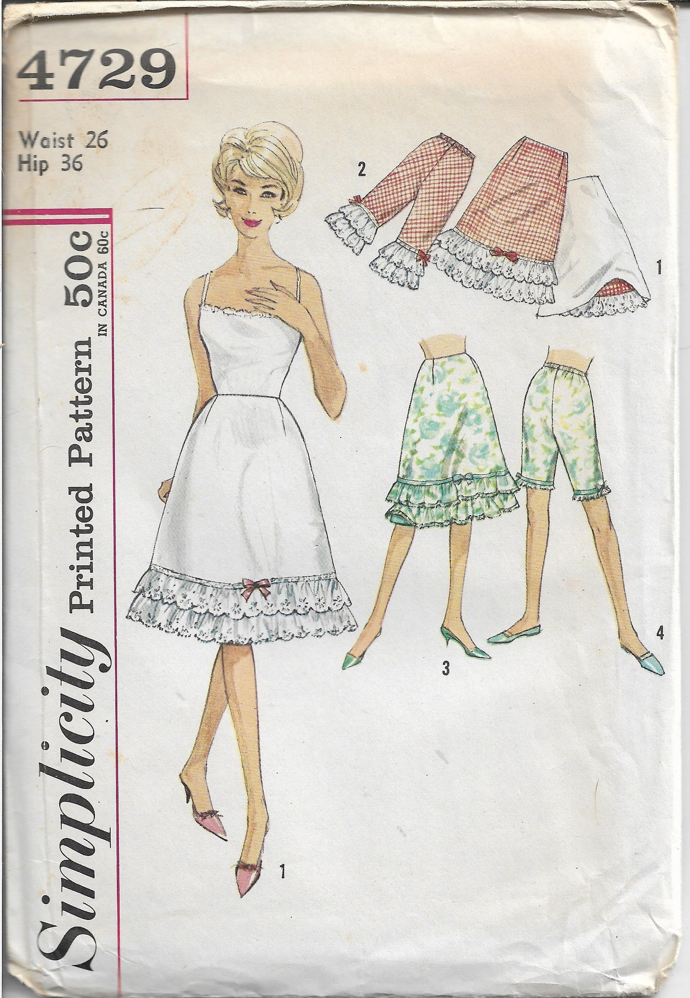 Simplicity 4729 Ladies Half Slip Pettipants Bloomers Vintage Sewing Pattern 1960s - VintageStitching - Vintage Sewing Patterns