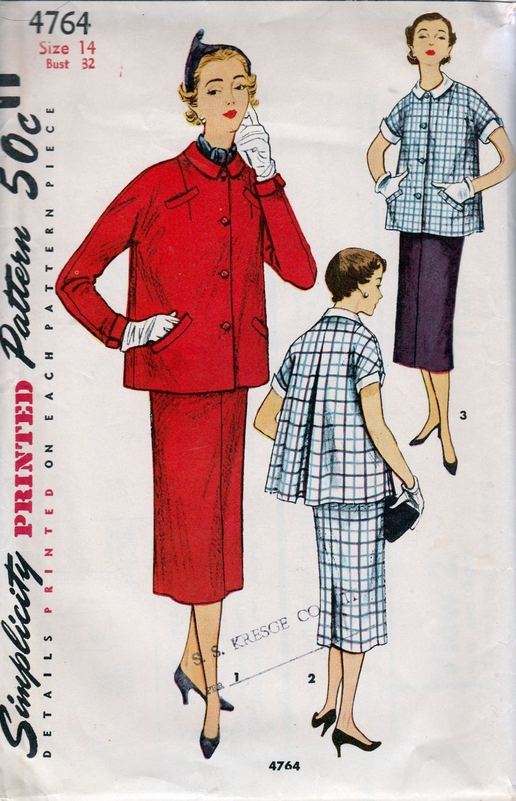 Simplicity 4764 Vintage 1950's Sewing Pattern Maternity Suit Jacket Inverted Pleat Skirt - VintageStitching - Vintage Sewing Patterns
