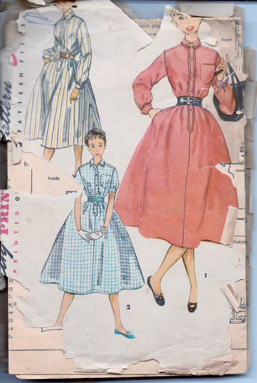 Simplicity 4771 Teens One Piece Dress Vintage 1950's Sewing Pattern Size 12 Bust 30 - VintageStitching - Vintage Sewing Patterns