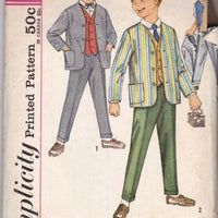 Simplicity 4836 Vintage Pattern Boys Suit Jacket Vest Pants 1960's - VintageStitching - Vintage Sewing Patterns