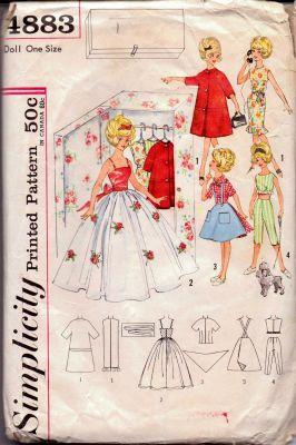Simplicity 4883 Barbie Tammy Doll  Clothing Wardrobe Vintage 1960's Sewing Pattern - VintageStitching - Vintage Sewing Patterns