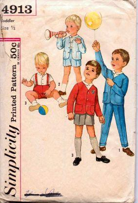 Simplicity 4913 Toddlers Jacket Shirt Shorts Pants Vintage 60's Pattern - VintageStitching - Vintage Sewing Patterns