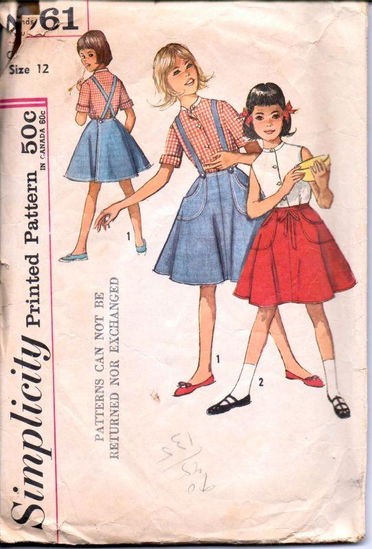 Simplicity 4961 Vintage 1960's Sewing Pattern Girls Blouse Wrap Skirt with Suspenders Four Gore - VintageStitching - Vintage Sewing Patterns