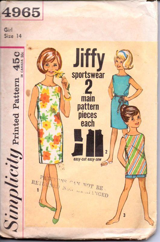 Simplicity 4965 Vintage 1960's Sewing Pattern Girls Sleeveless Beach Dress Top Shorts Jiffy - VintageStitching - Vintage Sewing Patterns