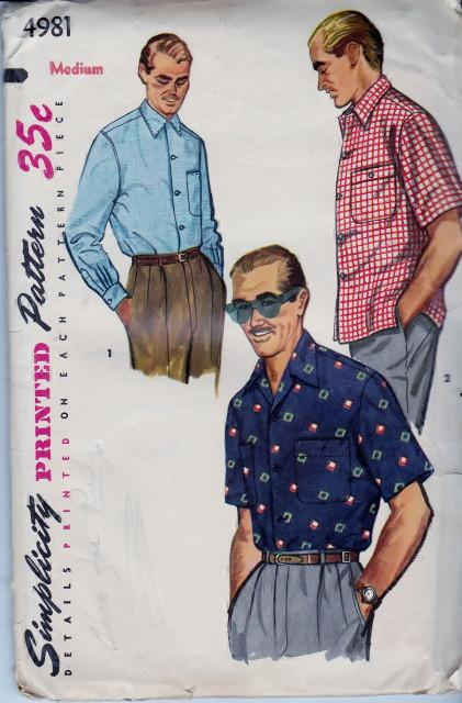 Simplicity 4981 Men's Sports Shirt Vintage Sewing Pattern 1950's - VintageStitching - Vintage Sewing Patterns