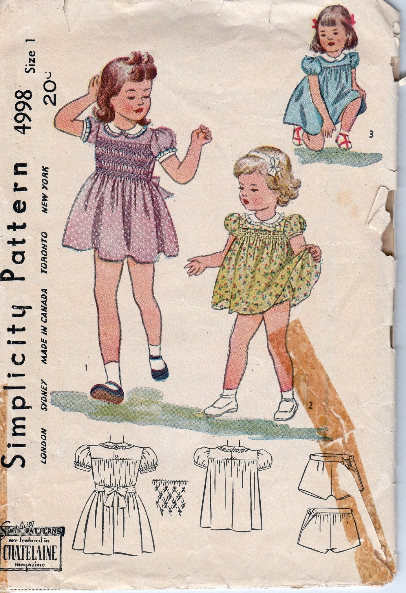 Simplicity 4998 Toddler Play Dress Panties Vintage Pattern 1940's - VintageStitching - Vintage Sewing Patterns