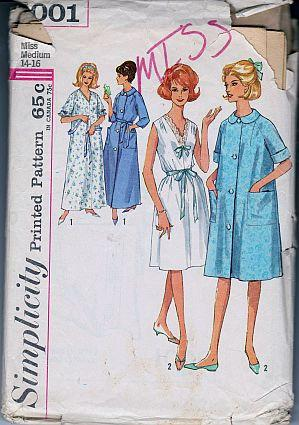 Simplicity 5001 Ladies Nightgown Robe Lingerie Vintage 1960's Sewing Pattern - VintageStitching - Vintage Sewing Patterns