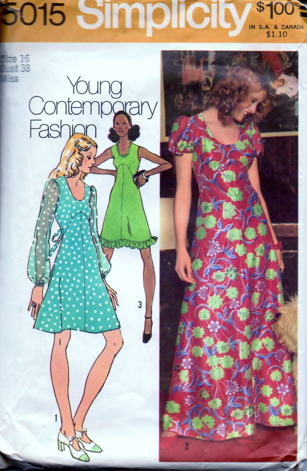 Simplicity 5015 Ladies Mini or Long Dress Young Contemporary Fashion Vintage 1970's Sewing Pattern - VintageStitching - Vintage Sewing Patterns
