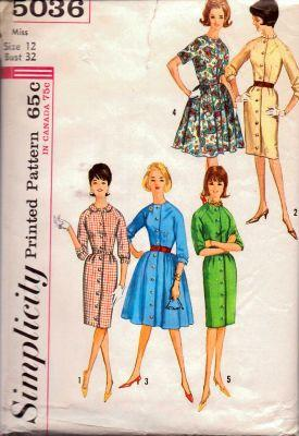Simplicity 5036 Ladies Button Front Coat Dress Vintage 1960's Sewing Pattern - VintageStitching - Vintage Sewing Patterns