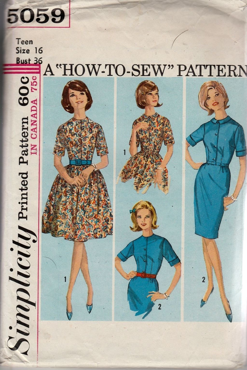 Simplicity 5059 Vintage 1960's Sewing Pattern Ladies Teen Sheath Shirtwaist Dress - VintageStitching - Vintage Sewing Patterns