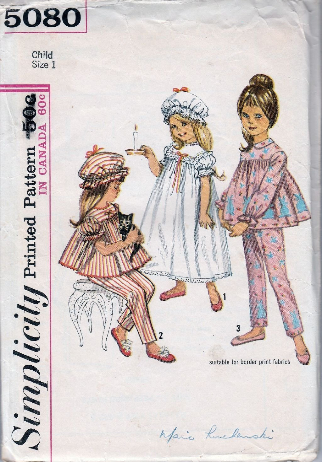Simplicity 5080 Vintage Sewing Pattern 1960's Toddler Nightgown Pajamas Cap - VintageStitching - Vintage Sewing Patterns