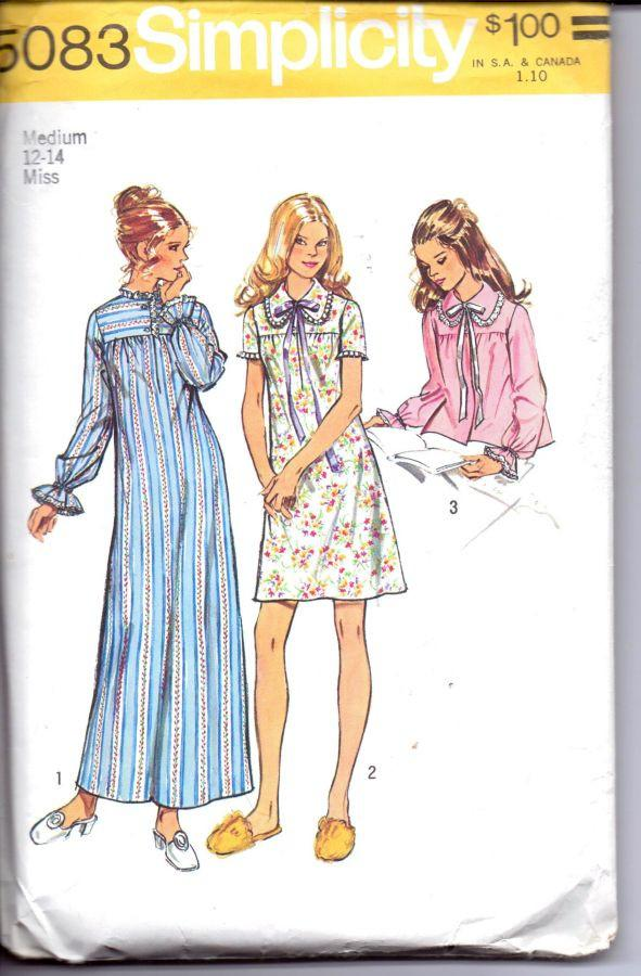 Simplicity 5083 Ladies Lingerie Nightgown Bed Jacket Pajamas Vintage 1970's Sewing Pattern - VintageStitching - Vintage Sewing Patterns