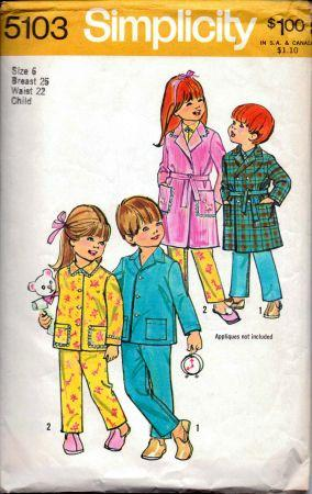 Simplicity 5103 Girls or Boys Pajamas Housecoat Robe Vintage 1970's Pattern - VintageStitching - Vintage Sewing Patterns