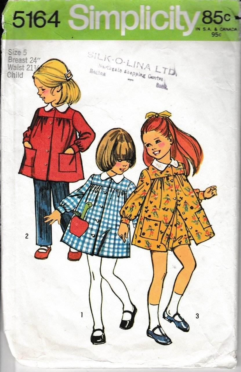 Simplicity 5164 Little Girls Smock Dress Pants Vintage 1970's Sewing Pattern - VintageStitching - Vintage Sewing Patterns