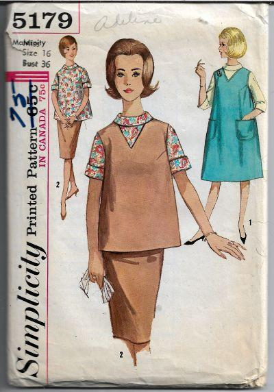 Simplicity 5179 Ladies Maternity Jumper Dress Skirt Blouse Vintage Pattern 1960s - VintageStitching - Vintage Sewing Patterns