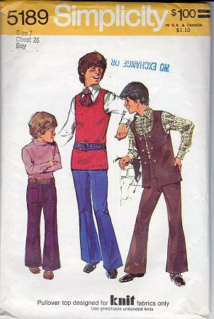 Simplicity 5189 Boys Vest Tank Top Bell Bottom Pants Vintage Pattern - VintageStitching - Vintage Sewing Patterns