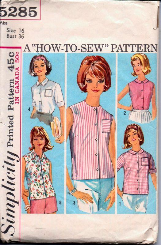 Simplicity 5285 Vintage 1960's Sewing Pattern Ladies Blouse Button Front Sleeveless Overblouse - VintageStitching - Vintage Sewing Patterns