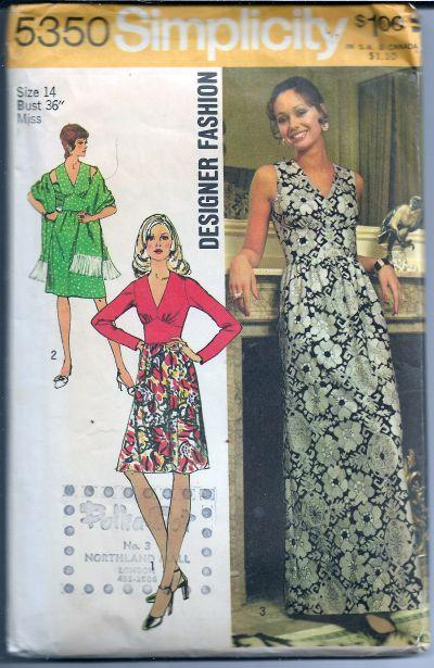 Simplicity 5350 Ladies Dress Gown Vintage Sewing Pattern 1970s - VintageStitching - Vintage Sewing Patterns