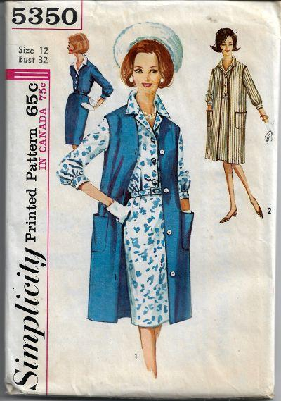 Simplicity 5350 Ladies Shirtwaist Dress Coat Vintage Sewing Pattern 1960s - VintageStitching - Vintage Sewing Patterns