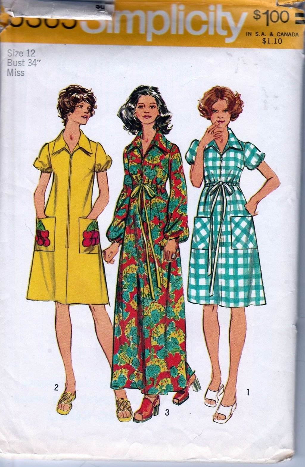 Simplicity 5365 Vintage 1970's Sewing Pattern Ladies House Dress Robe Front Zip - VintageStitching - Vintage Sewing Patterns